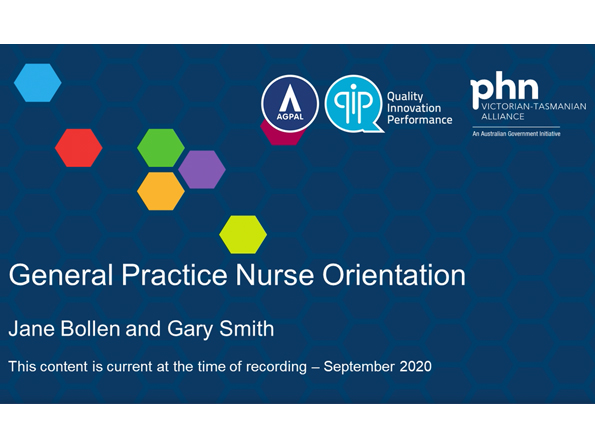 General practice nurse orientation webinar title slide