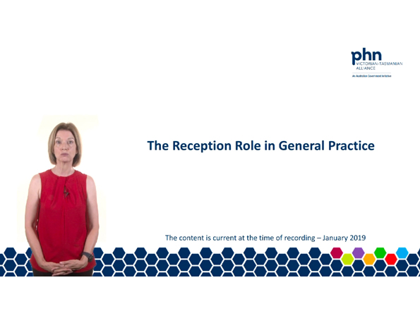 The reception role in general practice webinar title slide.
