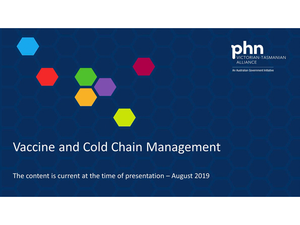 Vaccine and cold chain management webinar title slide.